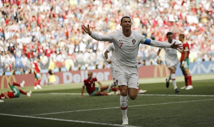 Cristiano Ronaldo scored his fourth goal of the 2018 World Cup against Morocco