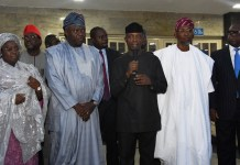 Vice President, Prof. Yemi Osinbajo (middle); Lagos State Governor, Mr. Akinwunmi Ambode (2nd left); his deputy, Dr. (Mrs) Oluranti Adebule (left); Osun State Governor, Ogbeni Rauf Aregbesola (2nd right) and Attorney General/Commissioner for Justice, Mr. Adeniji Kazeem (right) during a commiseration visit by the Vice President over the Otedola Bridge Tanker Explosion, at the Lagos House, Alausa, Ikeja, on Friday, June 29, 2018
