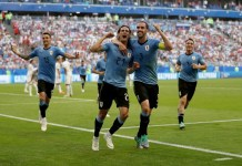 Edison Cavani scored for Uruguay as they won all three group matches, the first team to do so without conceding a goal since Argentina in 1998