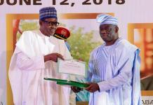Kola Abiola receives GCFR honour from President Muhammadu Buhari