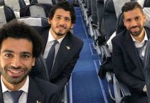 Mohamed Salah links up with the Egypt national team as they board EgyptAir airline to Russia for 2018 World Cup