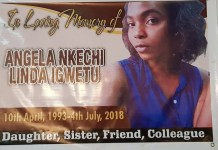 A candle light procession was held for Angela Igwetu days after her passing