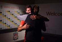 Jurgen Klopp embraces new world record goalkeeper Alisson Becker