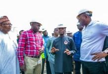 Vice President Osinbajo during a visit to petroleum tank depots in Apapa