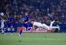 Zlatan Ibrahimovic scored twice with his head as he scored his first LA Galaxy hat-trick