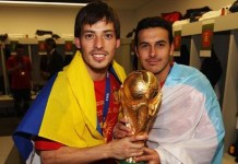 David Silva the World Cup with Spain in 2010