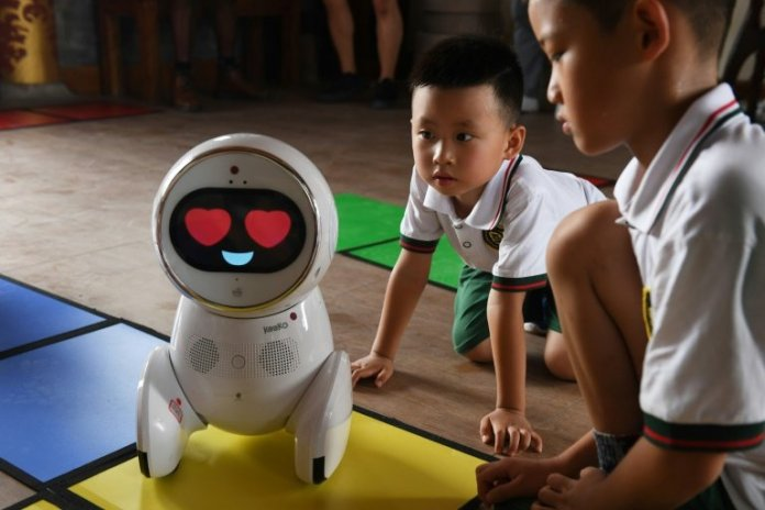 Keeko robots teach pupils at kindergarten school in China