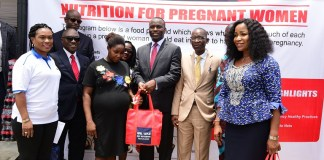 Seplat's Operations Director, Effiong Okon presenting gifts during the Safe Motherhood Programme