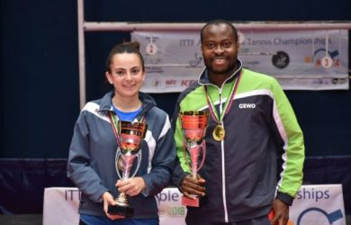 African Women's champion Dina Meshref with Aruna Quadri, the African men's championAfrican Women's champion Dina Meshref with Aruna Quadri, the African men's champion