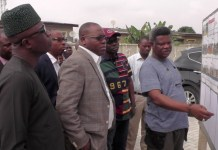 Special Adviser on Housing, Mr. Kehinde Joseph (left); Permanent Secretary, Arc. Foluso Dipe; Commissioner for Housing, Prince Gbolahan Lawal (middle) during an inspection tour of the nearly completed Amuwo Odofin LagosHOMS