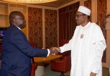 Governor Akinwunmi Ambode is in a closed door meeting with President Muhammadu Buhari at the Presidential Villa