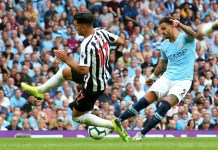 Kyle Walker scored his first Premier League goal for Manchester City