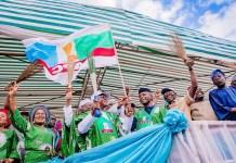FILE: Vice President Yemi Osinbajo and Asiwaju Bola Tinubu campaigning for APC candidate Gboyega Oyetola