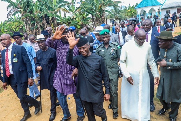Vice President Yemi Osinbajo commended Reverend Joseph Okplema and St John's Catholic Church for their selfless service to flood victims