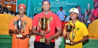 First placed Okeke Tony Kabilan (centre), second placed Igban Emmanuel (left) and 3rd Alikah Joseph Ehiagwina (right)
