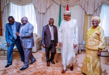 President Buhari shares a joke with Pastor Kumuyi and his wife Esther during their visit to the Presidential Villa
