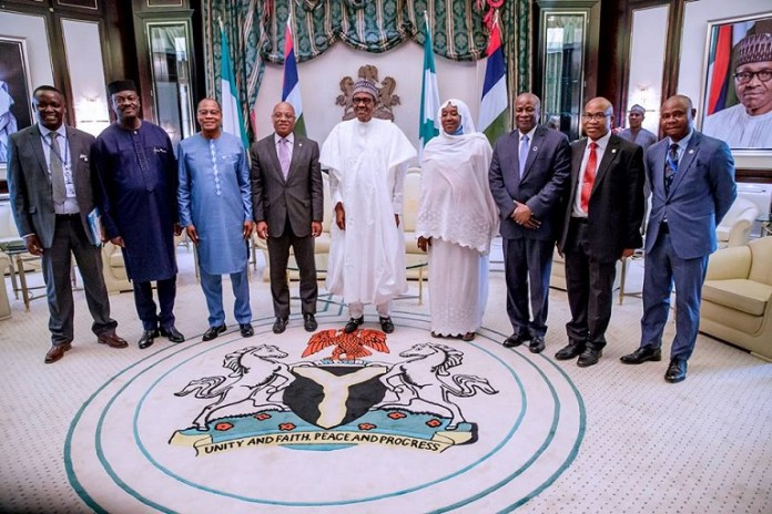 FILE PHOTO: President Buhari with R-L: Minister of State Foreign Affairs Hajia Khadija Ibrahim, ECOWAS President Jean Claude Brou, Special representative of UN Sec. Gen. on West Africa and Sahel Dr Mohammed Ibn Chambers and ECOWAS commissioner for Political Affairs, Peace and Security Gen. Francis Behazin as he receives in audience ECOWAS-UN delegation in State House on 29th Oct 2018