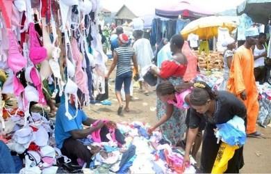 FILE: Women picking fairly used underwear in a market in Nigeria