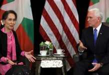 Myanmar's State Counsellor Aung San Suu Kyi and U.S. Vice President Mike Pence hold a bilateral meeting in Singapore, November 14, 2018