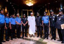 President Muhammadu Buhari with police chiefs in Abuja