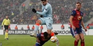 Alvaro Morata was injured after landing awkwardly against Vidi