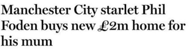 Newspaper headline about Phil Foden, another Manchester City youngster