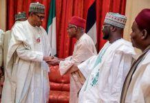 President Buhari welcomes a group of Kano political leaders including former deputy governor, Professor Hafiz Abubakar