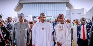 President Muhammadu Buhari arrive at the new Abuja airport terminal