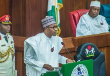 President Muhammadu Buhari presenting his 2019 budget to the National Assembly as Senate President Bukola Saraki looks on