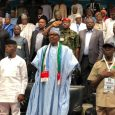 Vice President Yemi Osinbajo and Comrade Adams Oshiomhole flank President Muhammadu Buhari