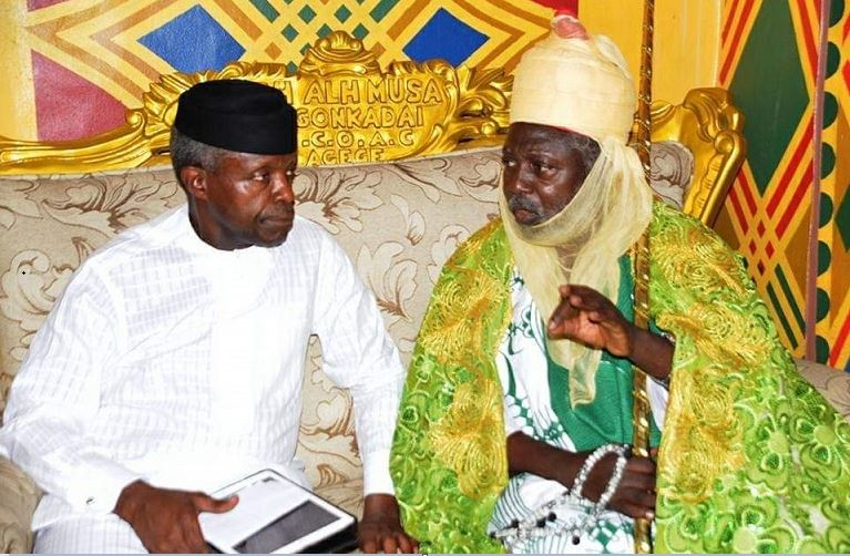 Vice President Yemi Osinbajo and Agege Hausa community leader, Alhaji Musa Dogonkadai