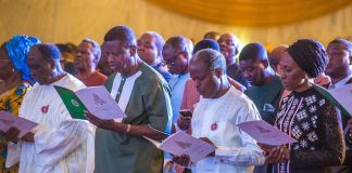 FILE: Vice President Yemi Osinbajo was joined by the General Overseer of RCCG Pastor E. A. Adeboye