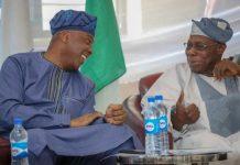 Chief Olusegun Obasanjo and Senate President Bukola Saraki at the Lagos Island Club on Wednesday