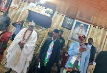 Deji of Akure, Oba Aladetoyinbo Ogunlade Aladelusi, VP Yemi Osinbajo and Governor Rotimi Akeredolu at the Deji's palace