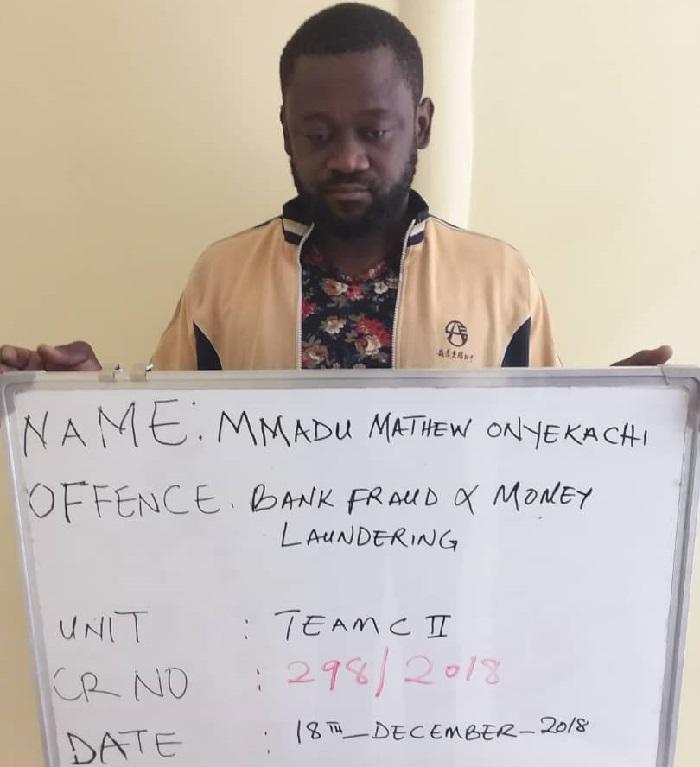 Mmadu Mathew Onyekachi was one of the Polaris Bank fraudsters granted bail