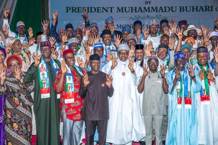 President Muhammadu Buhari and Vice President Yemi Osinbajo during unveiling of APC Presidential Council in Abuja