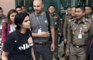 Rahaf Mohammed al-Qunun, pictured at Bangkok airport, says she does not want to return to Saudi Arabia