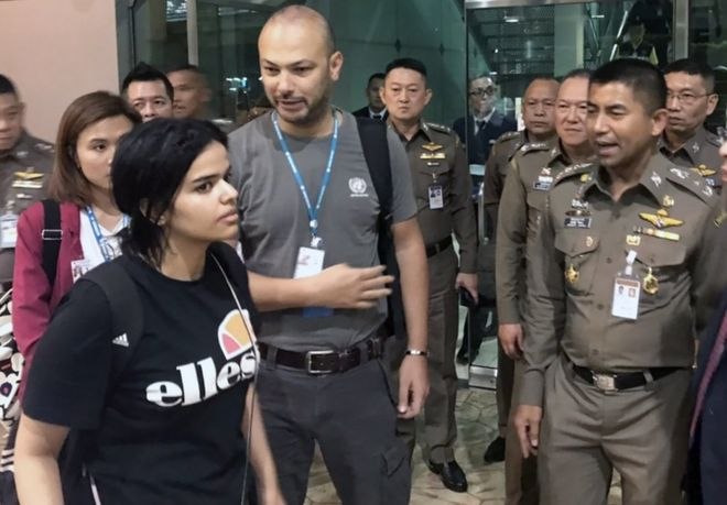 Rahaf Mohammed al-Qunun, pictured at Bangkok airport, says she does not want to return to Saudi Arabia