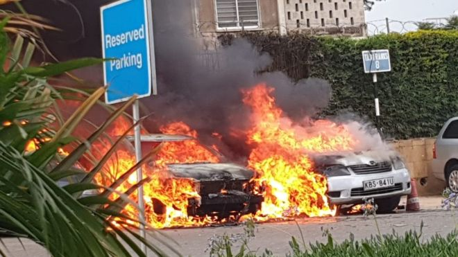 Vehicles were on fire in the car park and people are being evacuated