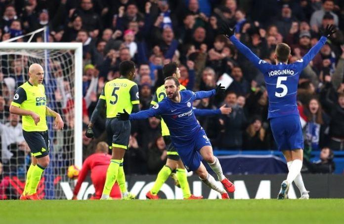 Gonzalo Higuain scored twice as Chelsea beat Huddersfield 4-0 at Stamford Bridge