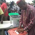 Minister of Transportation, Rotimi Amaechi voting in Ubima, Rivers State