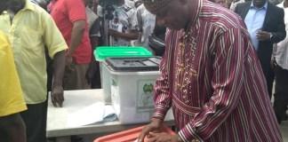 Minister of Transportation, Rotimi Amaechi voting in Ubima, Rivers State