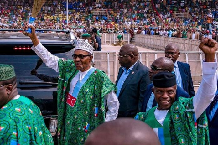President Muhammadu Buhari and Vice President Yemi Osinbajo during APC Next Level campaign in Ekiti on Tuesday