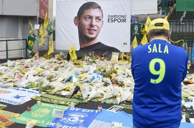 Supporters in Nantes have also been paying tribute to Sala