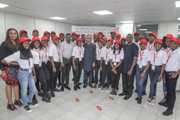 Group Executive, Digital and Consumer Banking, United Bank for Africa, Anant Rao (Middle); Head, Brand Management, UBA, Lashe Osoba (4th from right); Head, Events, UBA, Olutomi Olarewaju (right); Head, Student Banking, UBA, Ezekiel Adisa (5th from right) flanked by  2019 UBA Campus Ambassadors during their Unveiling at the UBA Head Office in Lagos at the weekend