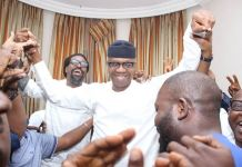 Prince Dapo Abiodun celebrating his victory at his country home in Iepru, Ogun State