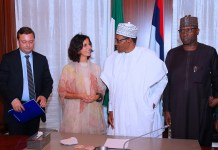 Maria Arena, chief of EU mission with President Muhammadu Buhari before the elections in Abuja