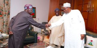 National leader of the APC, Asiwaju Bola Tinubu shake hands with President Muhammadu Buhari
