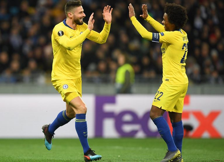 Olivier Giroud scored a hat-trick to continue his fine form in Europe