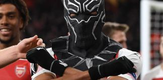 Pierre-Emerick Aubameyang celebrated with Marvel Pictures Wakanda mask
